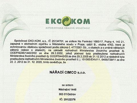 Potvrdenie výrobcovi obalov - EKO-KOM