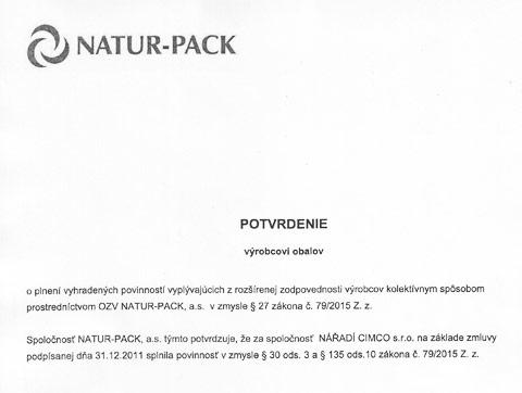 Potvrdenie výrobcovi obalov - NATUR-PACK