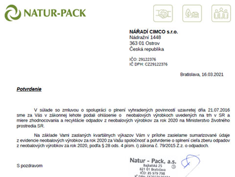 Potvrdenie výrobcovi neobalov - NATUR-PACK