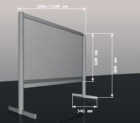 Ochranná přepážka 1000 mm nebo 1500 mm
